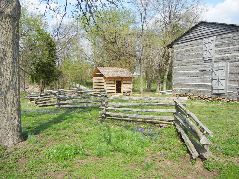 Another view of General Clark cabin and slave quarters.  Since William Clark and his manservant had lived together since Clark's birth (they were about the same age) it can probably be safely assumed that York was living in the save quarters (or replica). William Clark had inherited York from his father's plantation.