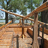Keelboat replica, standing in front of the captains quarters looking towards the FRONT of the keelboat.