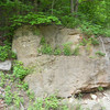 At this rock formation the path up to Tavern Cave, or Tavern Cliff, is barely visible.