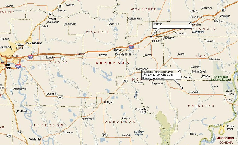This map identifies where the Louisiana Territory marker is located.  It is approximately 21 miles southeast of the town of Brinkley, Arkansas, off of I-40 interstate.