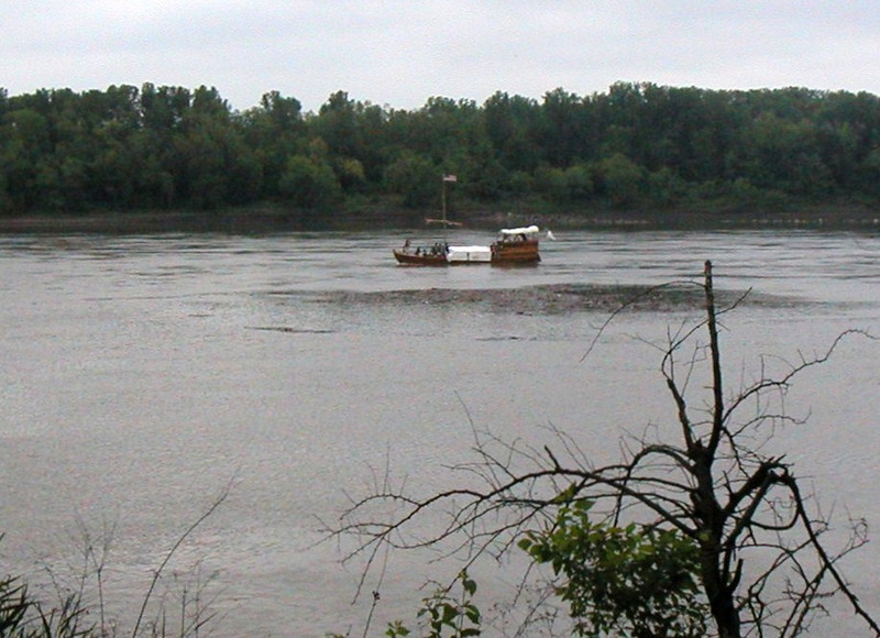 """Replica keelboat traveled approximately 7 miles from Camp Dubois to this first campsite.  """"Dubois"""" is French for """"wood"""", and the camp was frequently referred to in their journals as """"Camp Dubois River"""" (or Camp Wood River, the name of the small river running beside the camp and into the Mississippi River."""