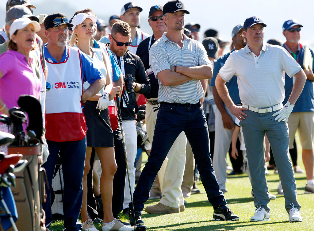 . Actor Josh Duhamel and country music star Clay Walker watch the action during the 3M Celebrity Shoot-Out at the Pebble Beach Golf Links in Pebble Beach on Wednesday, Feb. 7, 2018.   (Vern Fisher - Monterey Herald)