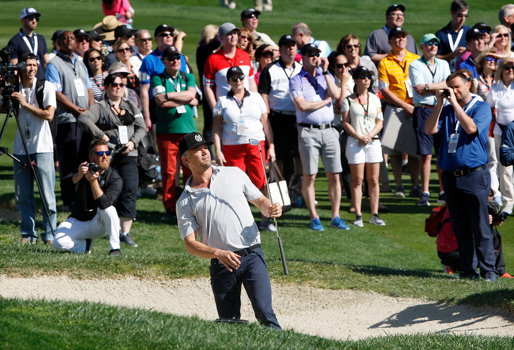. Actor Josh Duhamel hits from the bunker on the third hole during the 3M Celebrity Shoot-Out at the Pebble Beach Golf Links in Pebble Beach on Wednesday, Feb. 7, 2018.   (Vern Fisher - Monterey Herald)