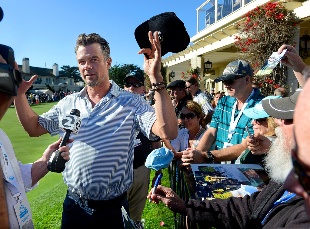 . Actor Josh Duhamel talks to the media prior to the start of the 3M Celebrity Shoot-Out at the Pebble Beach Golf Links in Pebble Beach on Wednesday, Feb. 7, 2018.   (Vern Fisher - Monterey Herald)