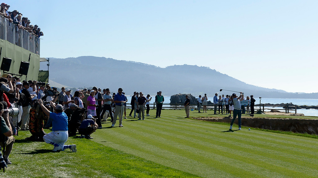 . Country music star Clay Walker on the 18th tee during the 3M Celebrity Shoot-Out at the Pebble Beach Golf Links in Pebble Beach on Wednesday, Feb. 7, 2018.   (Vern Fisher - Monterey Herald)