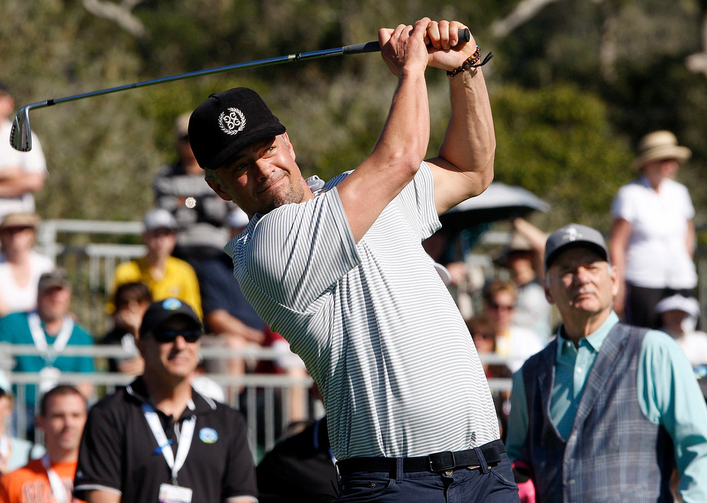 . Actor Josh Duhamel hits a tee shot from the 17th hole during the 3M Celebrity Shoot-Out at the Pebble Beach Golf Links in Pebble Beach on Wednesday, Feb. 7, 2018.   (Vern Fisher - Monterey Herald)