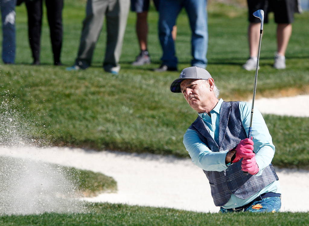 . Bill Murray hits from the bunker on the 17th hole during the 3M Celebrity Shoot-Out at the Pebble Beach Golf Links in Pebble Beach on Wednesday, Feb. 7, 2018.   (Vern Fisher - Monterey Herald)