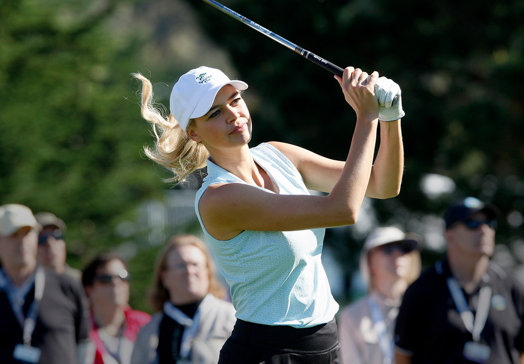 . Actress Kelly Rohrbach during the 3M Celebrity Shoot-Out at the Pebble Beach Golf Links in Pebble Beach on Wednesday, Feb. 7, 2018.   (Vern Fisher - Monterey Herald)