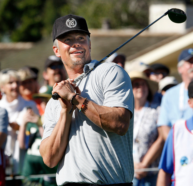 . Actor Josh Duhamel watches his tee shot from the first hole during the 3M Celebrity Shoot-Out at the Pebble Beach Golf Links in Pebble Beach on Wednesday, Feb. 7, 2018.   (Vern Fisher - Monterey Herald)