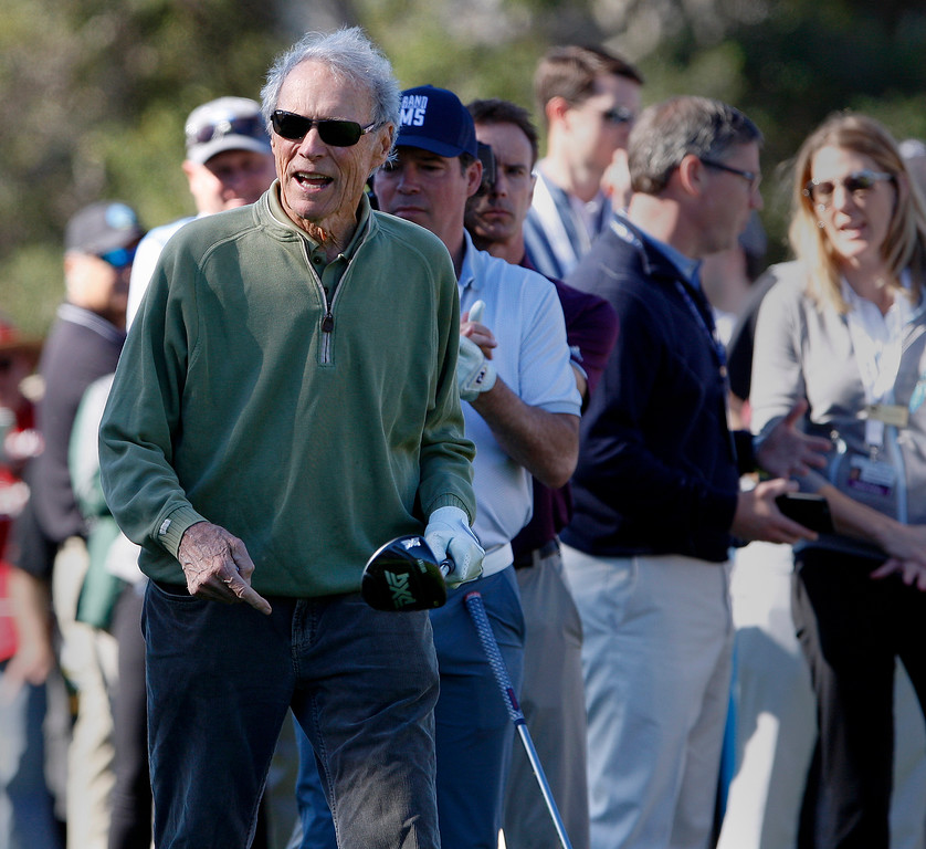 . Clint Eastwood during the 3M Celebrity Shoot-Out at the Pebble Beach Golf Links in Pebble Beach on Wednesday, Feb. 7, 2018.   (Vern Fisher - Monterey Herald)
