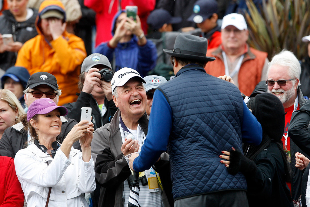 . Andy Garcia greets the gallery during the 3M Celebrity Challenge at the Pebble Beach Golf Links on Wednesday, Feb. 8, 2017 during the AT&T Pebble Beach Pro Am.  (Vern Fisher - Monterey Herald)