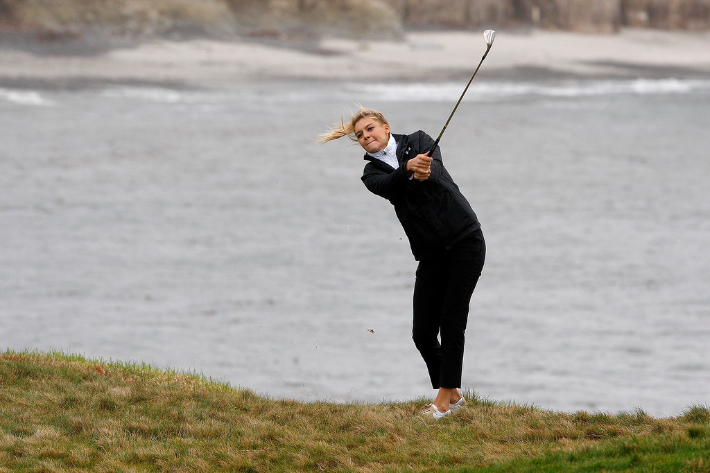 . Model/actor Kelly Rohrbach on the 17th hole during the 3M Celebrity Challenge at the Pebble Beach Golf Links on Wednesday, Feb. 8, 2017 during the AT&T Pebble Beach Pro Am.  (Vern Fisher - Monterey Herald)