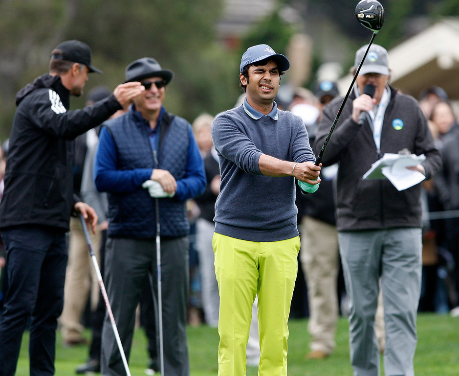 . Actor Kunal Nayar gets ready to tee off on the 1st hole during the 3M Celebrity Challenge at the Pebble Beach Golf Links on Wednesday, Feb. 8, 2017 during the AT&T Pebble Beach Pro Am.  (Vern Fisher - Monterey Herald)