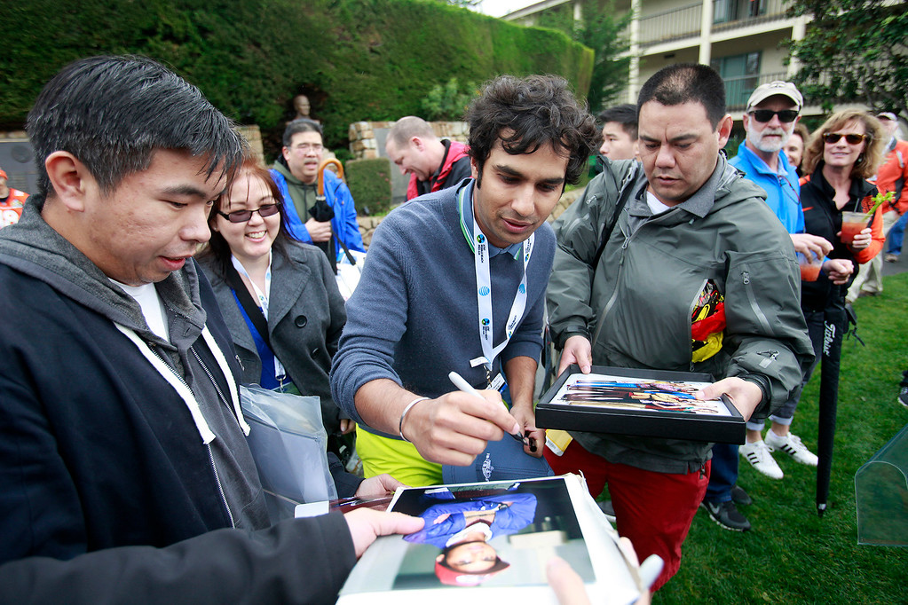 . Actor Kunal Nayar signs autographs prior to the 3M Celebrity Challenge at the Pebble Beach Golf Links on Wednesday, Feb. 8, 2017 during the AT&T Pebble Beach Pro Am.  (Vern Fisher - Monterey Herald)