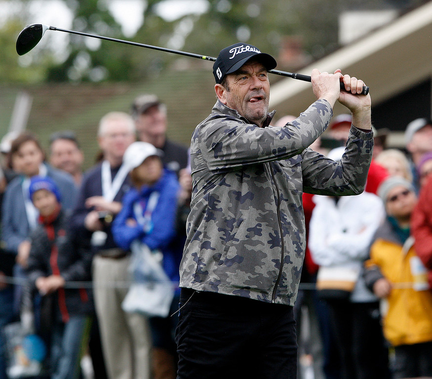 . Huey Lewis tees off on the 1st hole during the 3M Celebrity Challenge at the Pebble Beach Golf Links on Wednesday, Feb. 8, 2017 during the AT&T Pebble Beach Pro Am.  (Vern Fisher - Monterey Herald)