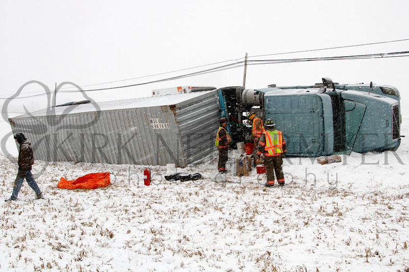 Tractor Trailer overturned on Route 772