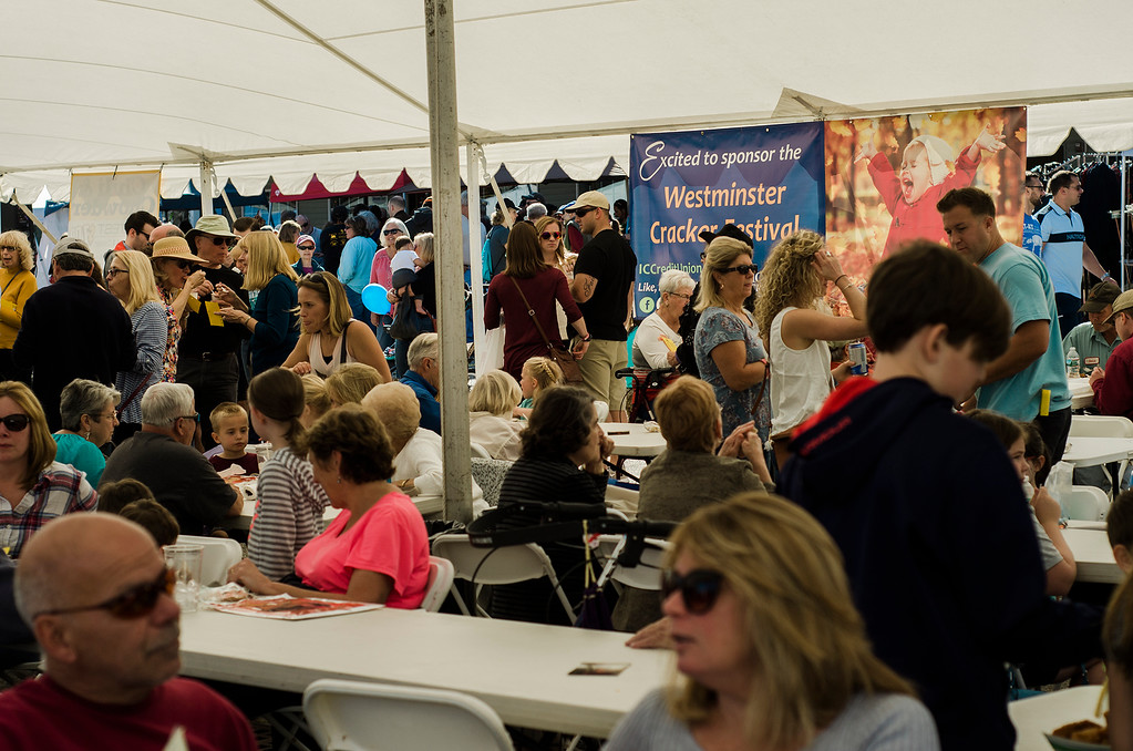 . Guests pile in to enjoy the Chowder Contest during the 3rd annual Westminster Cracker Festival on Saturday, October 21, 2017. SENTINEL & ENTERPRISE / Ashley Green