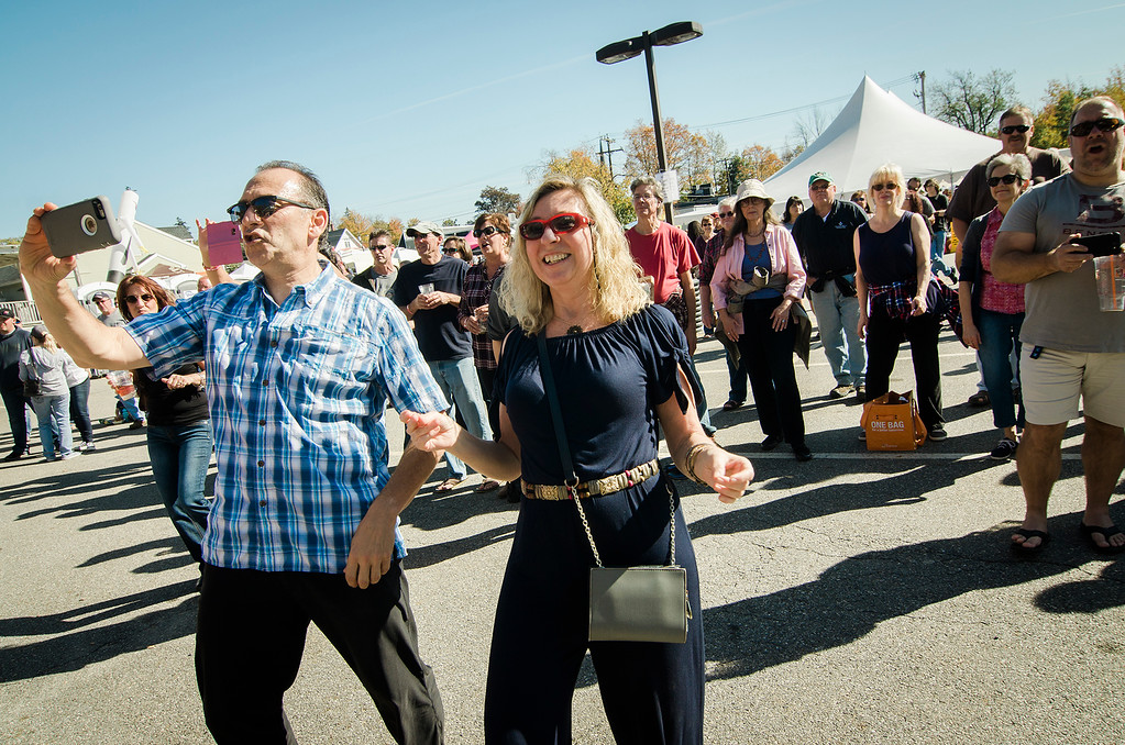 . Ann Gaffney and Doug Fine dance along to the music of Clutch Grabwell during the 3rd annual Westminster Cracker Festival on Saturday, October 21, 2017. SENTINEL & ENTERPRISE / Ashley Green