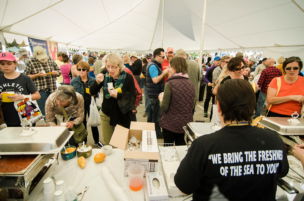 . A crowd enjoys the chowder competition during the 3rd annual Westminster Cracker Festival on Saturday, October 21, 2017. SENTINEL & ENTERPRISE / Ashley Green