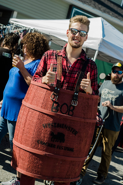. Jared Moore has a barrel of fun during the 3rd annual Westminster Cracker Festival on Saturday, October 21, 2017. SENTINEL & ENTERPRISE / Ashley Green