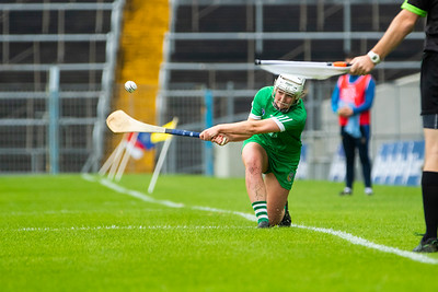 Limerick's Caoimhe Costello takes a sideline cut