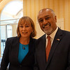 Barbara L'Italien and Beej Das at the Devens Common Center for a Sun hosted debate for the 3rd Congressional election. The Sun / Chris Tierney