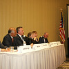 Jeff Ballinger, Beej Das, Rufus Gifford, Leonard Golder, Barbara L'Italien, Patrick Littlefield at the Devens Common Center for a Sun hosted debate for the 3rd Congressional election. The Sun / Chris Tierney