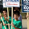 The debate for the Third District was held at Fitchburg State University's Conlon Fine Arts building on Wednesday night in Fitchburg. River Reilly, 12, from Townsend holds a sign for Barbara L'Italien outside just before the debate started. SENTINEL & ENTERPRISE/JOHN LOVE