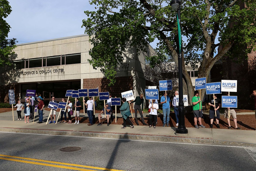 . The debate for the Third District was held at Fitchburg State University\'s Conlon Fine Arts building on Wednesday night in Fitchburg. Many held signs outside just before the debates started. SENTINEL & ENTERPRISE/JOHN LOVE