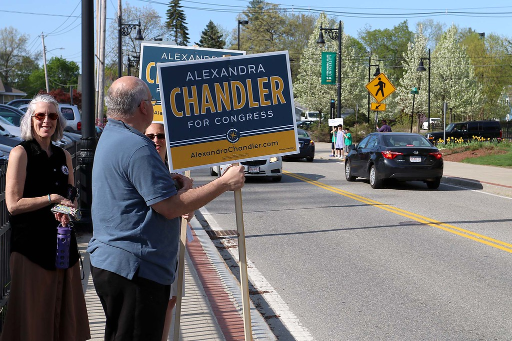 . The debate for the Third District was held at Fitchburg State University\'s Conlon Fine Arts building on Wednesday night in Fitchburg. Their wher only a couple of signs outrside before the debates for Alexandra Chandler. SENTINEL & ENTERPRISE/JOHN LOVE