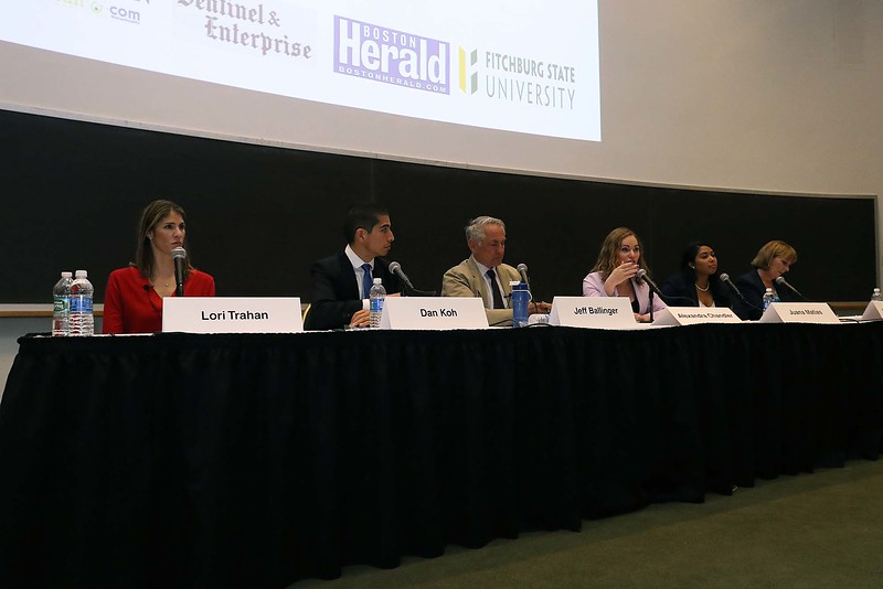The debate for the Third District was held at Fitchburg State University's Conlon Fine Arts building on Wednesday night in Fitchburg. From left during the second debate is candidates Lori Trahan, Dan Koh, Jeff Ballinger, Alexandra chandler, Juana Matias and Barbara L'Italien. SENTINEL & ENTERPRISE/JOHN LOVE