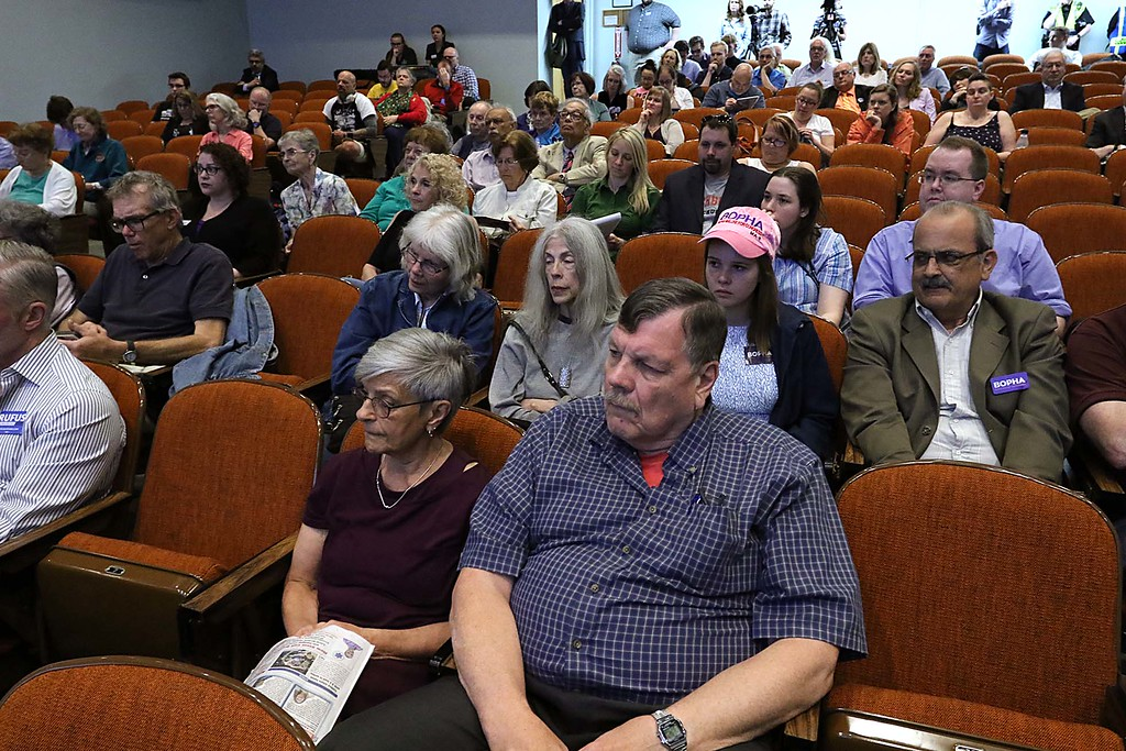 . The debate for the Third District was held at Fitchburg State University\'s Conlon Fine Arts building on Wednesday night in Fitchburg. The crowd listens to the answers from the candidates at the debate. SENTINEL & ENTERPRISE/JOHN LOVE