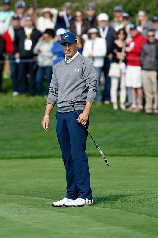. Jordan Spieth reacts to a missed birdie putt on the 5th hole at the Pebble Beach Golf Links during the third round of the AT&T Pebble Beach Pro Am on Saturday, Feb. 11, 2017.   (Vern Fisher - Monterey Herald)