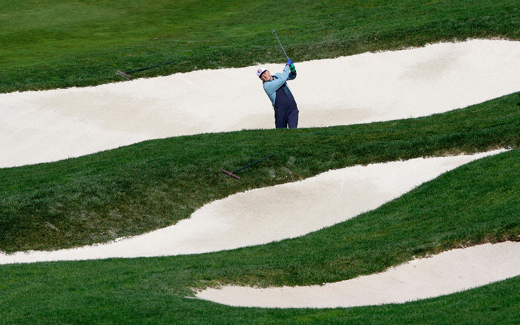 . Bill Murray hits from a bunker on the 6th hole at the Pebble Beach Golf Links during the third round of the AT&T Pebble Beach Pro Am on Saturday, Feb. 11, 2017.   (Vern Fisher - Monterey Herald)