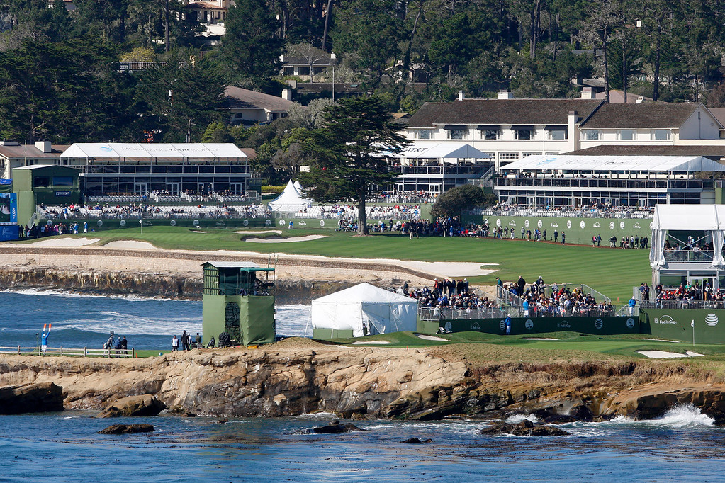 . Overlooking the 17th green and 18th hole at the Pebble Beach Golf Links during the third round of the AT&T Pebble Beach Pro Am on Saturday, Feb. 11, 2017.   (Vern Fisher - Monterey Herald)