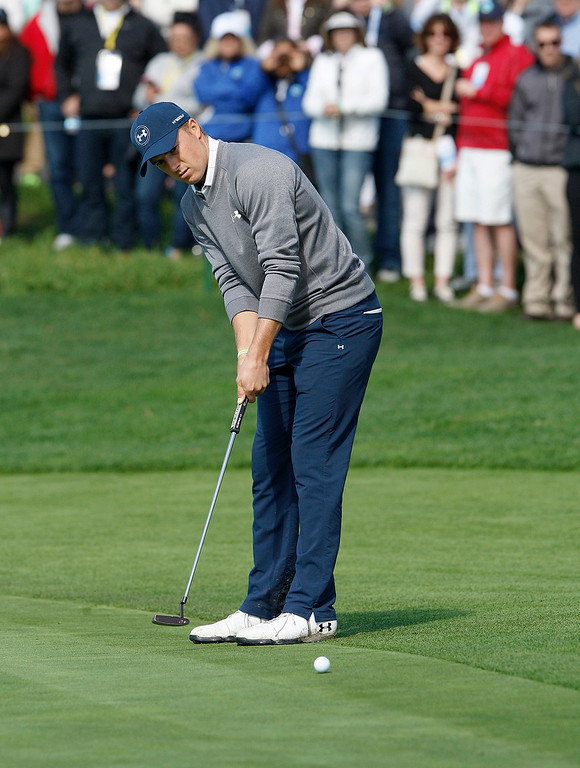 . Jordan Spieth putts on the 5th hole at the Pebble Beach Golf Links during the third round of the AT&T Pebble Beach Pro Am on Saturday, Feb. 11, 2017.   (Vern Fisher - Monterey Herald)