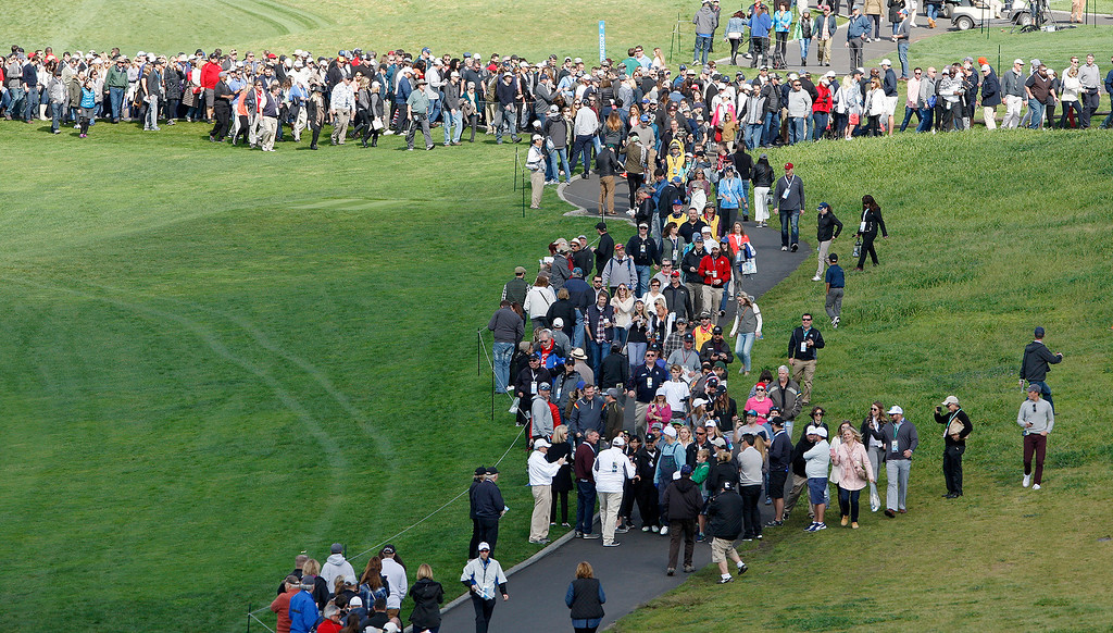 . Large galleries at the Pebble Beach Golf Links during the third round of the AT&T Pebble Beach Pro Am on Saturday, Feb. 11, 2017.   (Vern Fisher - Monterey Herald)