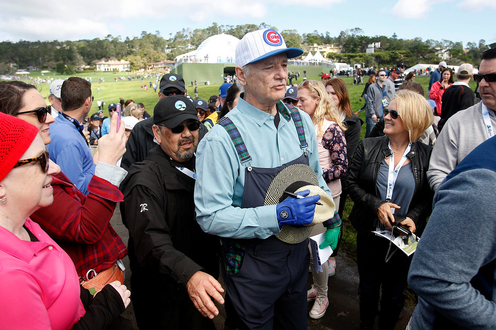 . Bill Murray surronded by fans on the 6th hole at the Pebble Beach Golf Links during the third round of the AT&T Pebble Beach Pro Am on Saturday, Feb. 11, 2017.   (Vern Fisher - Monterey Herald)