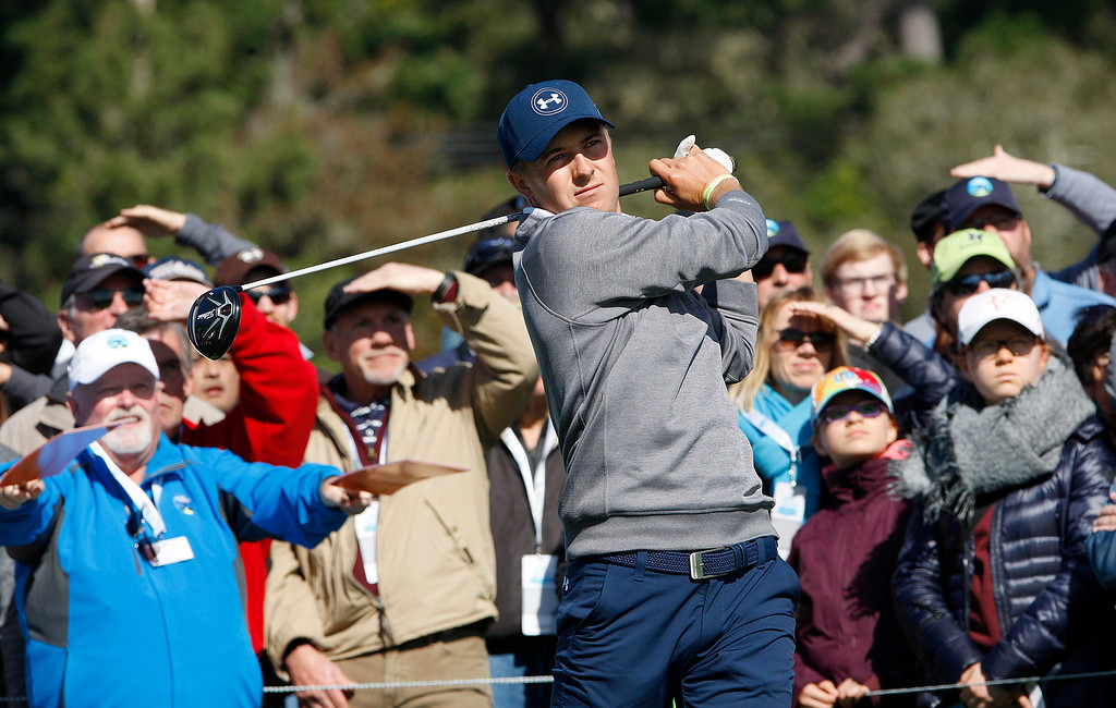 . Jordan Spieth watches his tee shot on the 6th hole at the Pebble Beach Golf Links during the third round of the AT&T Pebble Beach Pro Am on Saturday, Feb. 11, 2017.   (Vern Fisher - Monterey Herald)