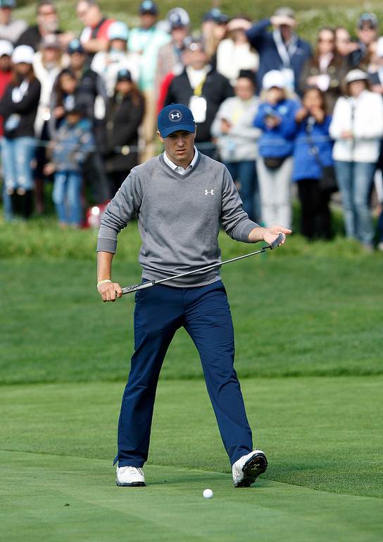 . Jordan Spieth lines up a putt on the 5th hole at the Pebble Beach Golf Links during the third round of the AT&T Pebble Beach Pro Am on Saturday, Feb. 11, 2017.   (Vern Fisher - Monterey Herald)