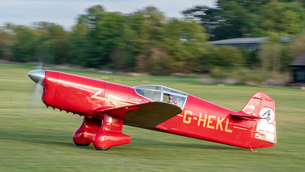 Old Warden-> Race Day 2018-> Display-> Famous Racers, Aircraft-> Percival-> Mew Gull-> G-HEKL (replica), Shuttleworth - 07/10/2018@17:31