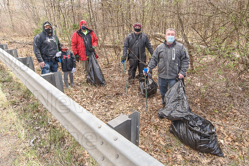 Employees of C&S Wholesale Groceres (and one junior volunteer) clean up trash along Summit Lock Road for Earth Day, April 22nd.  Working are Mike Dupuis and sone Liam, Brett Merritt, tom Weir, and Matt Connor.  The event was organized by Liz Perez and Sarah Klotzman.
