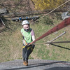Emily Prouty on her way down the 60 foot rapelling wall.