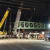The first span is in place and a second crane is set up for the second span.