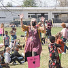 Kate Fahey, Franklin  Avenue School Adjustment Counselor, leads students in a group line dance Friday.