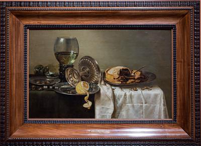 Bodegón con pastel de frutas y diversos objetos (Willem Claesz. Heda)