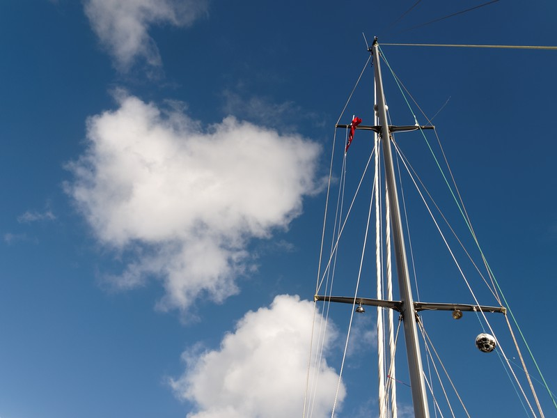 Yacht -Sailboat, mast white cloud blue sky