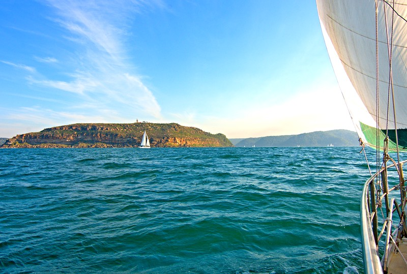 Sailing into Broken Bay. Original exclusive photo art.