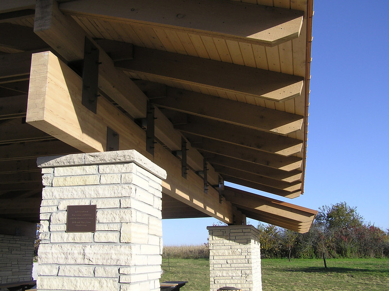 "<a href=""http://www.martindesignpc.com/"">Photo Courtesy of Gardner Architecture, a Martin Design Company. Tom Gardner, architect of record.</a>  In 2006, the Hardin County Conservation Board was awarded a Transportation Enhancement project award to build a scenic overlook. The Sac & Fox Recreation area covers 106.2 acres filled with hiking, hunting, wetlands, and wildlife. Within this area is the Sac & Fox Scenic Overlook which provides excellent views of the Iowa River, migrating birds, and is the perfect spot for a picnic.   An award of $300,000 was met with a match of $133,900 to fund a roadside overlook. The project was designed by Martin Design and the work was completed by Wicks Construction. The project included the construction of an open air structure, binocular viewers, restrooms, interpretive panels, parking, sidewalks, and a picnic area.  The Sac and Fox Overlook area is found 1 mile North of Steamboat Rock and is accessible from county road S56."