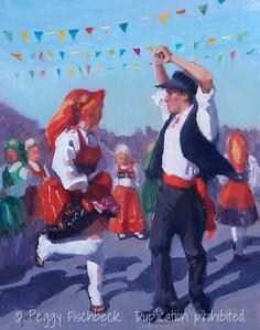 Dancers, Portuguese Festa - 11x14, oil panel  C0381